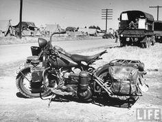 Army Motorcycle. (Harley-Davidson WLA?)  (George Strock. 1941)