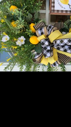 Wreaths, floral arrangements, ribbon, etc. Country Christmas Decorations, Christmas Tree Themes, Christmas Tree Toppers, Spring Door Wreaths, Summer Wreath, Mesh Wreaths, Front Door Decor, Wreaths For Front Door, Lemon Wreath