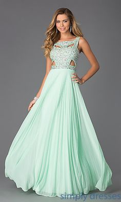 Sleeveless Floor Length Dress with Pleated Skirt by Betsy and Adam at SimplyDresses.com
