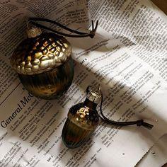 west elm's mercury acorn ornaments.