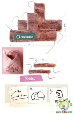 knitted baby shoes - no pattern but the measurements and how to sew them up are on the pinned image