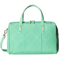 Vera Bradley Preppy Poly Marlo Satchel (Mint) Satchel Handbags ($65) ❤ liked on Polyvore featuring bags, handbags, green, structured purse, mint green purse, vera bradley purses, satchel purses and green purse
