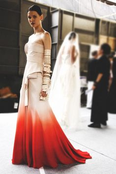 Cream -->Red Ombre Gown