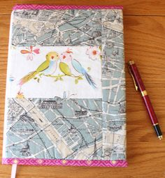 Quilted Fabric Journal Cover Romantic Paris Grey by CandyKQuilts at Etsy.com $28