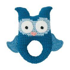 Crochet Rattle Owl Blue, sebra