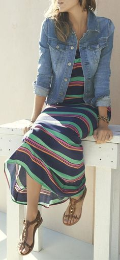 Stripe Maxi + Denim Jacket....I'm never really drawn to maxi dresses, but I've seen them with the denim jackets and I like it :-)