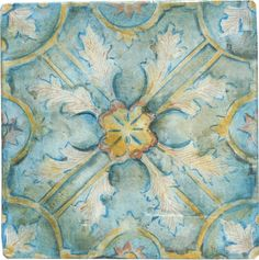 The shining star of the Olde Malacca series. This gorgeous tile features a subtle colour palette of blues, yellows, and umbers. Hand painted on Baltic birch, this tile is heat and moisture resistant.