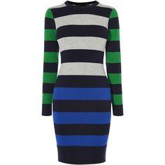 Karen Millen Colourblock Stripe Dress (€145) ❤ liked on Polyvore featuring dresses, women, stretch dresses, striped dress, long sleeve crew neck dress, long sleeve stripe dress and longsleeve dress