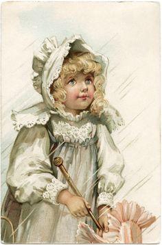victorian girl postcard, girl in rain image, free vintage ephemera, old fashioned girl dress bonnet, antique postcard child, frances brundage card
