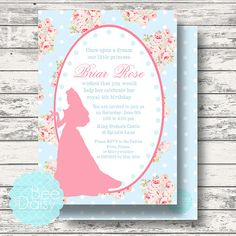 Sleeping Beauty Invitation for Birthday Party or by BeeAndDaisy