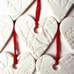 Heart Christmas ornaments White porcelain ceramic sweet heart Christmas tree ornaments Vintage lace texture Bright red thread set of 5 Ceramic Christmas Decorations, Christmas Ornament Sets, Heart Decorations, Valentine Decorations, Christmas Angels, White Christmas, Wedding Decorations, Handmade Ornaments, Handmade Christmas