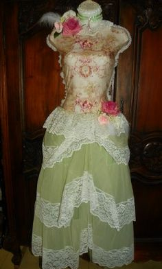 Shabby Victorian French Roses Hanging Dress Form