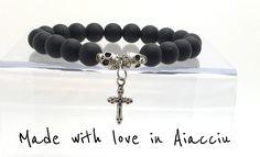 bracelet homme perles agate noire, crânes et croix .Très belle qualité : Bijoux pour hommes par made-with-love-in-aiacciu