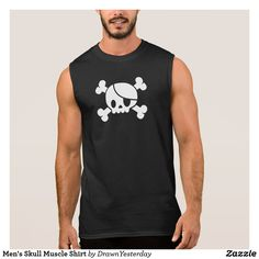 Men's Skull Muscle Shirt - Save 15% OFF with Coupon Code: TOTESANDHATS (muscle shirt, sleeveless t-shirt, pirate, jolly roger, skull and bones, black, summer, summertime, suns out, guns out, men, women, kids, lol, fun, funny, cute)