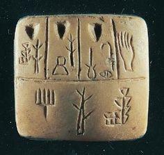 """Pictogramas , o precursor de escrita cuneiforme. No início dos comprimidos, os sinais foram escritos verticalmente. A mão no canto superior direito significa """"receber"""". Os pontos ao longo do topo são números."""