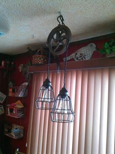 Globe Electric 1-Light Oil-Rubbed Bronze Vintage Hanging Caged Pendant with Black Cord 64172 at The Home Depot - Mobile