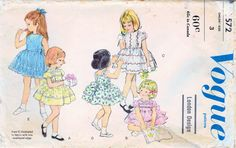 1960s Vogue 5572 Vintage Sewing Pattern Girls Party Dress, Full Skirt Dress, Slip Size 3
