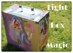 """light refraction experiment: water bottles in box to make """"lightbulbs"""" Preschool Science, Science For Kids, Science Activities, Preschool Crafts, Science Topics, Mad Science, Science Ideas, Kids Crafts, Cool Science Experiments"""