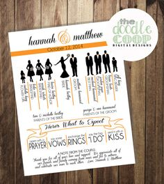 Custom Bridal Party Silhouette Wedding Program