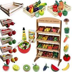 Puesto de juguete & Tienda Accesorios - Alimentos Frutas & Verduras de madera