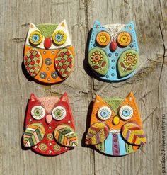 Ceramic Owl Brooch