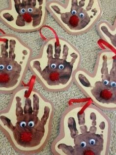 Handprint reindeer ornaments for Rudolph reindeer crafts for kids. … Handprint reindeer ornaments for Rudolph reindeer crafts for kids. Kids Crafts, Winter Crafts For Toddlers, Preschool Christmas Crafts, Daycare Crafts, Holiday Crafts, Classroom Crafts, Christmas Projects For Kids, Christmas Activities For Toddlers, Christmas Ideas