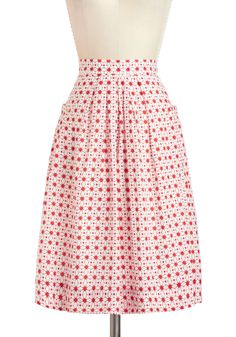 Haute on the Tiles Skirt - Cotton, Mid-length, Red, White, Print, Pockets, Daytime Party, A-line, Vintage Inspired, 50s