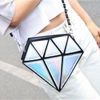 Fashion Diamond package hologram bag Leather handbags Chain shoulder bag Diagonal small bags for Female women bags jx0076