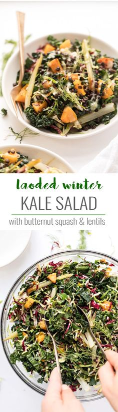 This AMAZING Winter Kale Salad is loaded with veggies like butternut squash, brussels sprouts, fennel and lentils! Simply Quinoa #kale #salad #kalesalad #vegetarian