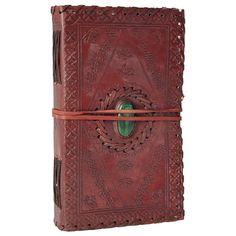 Malachite Stone Inlay Medium Leather Journal