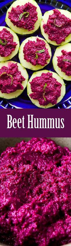 Colorful beet hummus made with red beets, tahini, lemon, and garlic. Great with pita chips or veggies! #healthy #paleo #vegan On http://SimplyRecipes.com