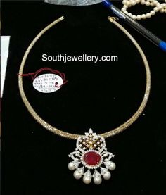 Simple Gold Chain with Diamond Pendant photo