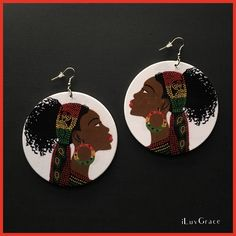 Black Woman in Cute Scarf Wooden Earrings