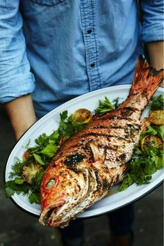 Whole Fish Recipes Bbq.Grilled Whole Fish Recipe Dave Pasternack Food Wine. Home and Family Fish Dinner, Seafood Dinner, Fish And Seafood, Seafood Recipes, Cooking Recipes, Healthy Recipes, Baked Whole Fish, Whole Fish Recipes, Healthiest Seafood