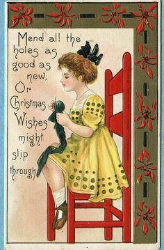 Christmas postcard of a girl knitting, early 20th C.