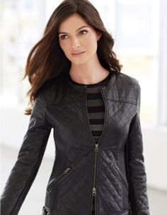 Quilted leather jacket Macey Jacket. On sale for $250 (You save $400.00 (62%)!)   #womensfashion #leatherjacket #travel