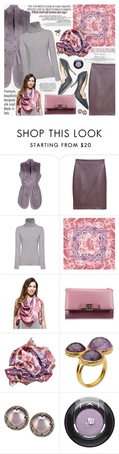 """""""Premium, beautifully designed silk scarf. Made in Italy."""" by katjuncica ❤ liked on Polyvore featuring GUESS by Marciano, MANGO, iHeart, Paul Andrew, Salvatore Ferragamo, La Femme, First People First, Siena Jewelry, Lancôme and modern"""