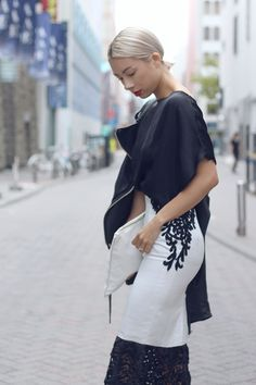 SOPHISTICATED BLACK & WHITE LOOK  http://jenniferbachdim.com/2015/09/06/sophisticated-black-white-look/  Skirt by: SisSae from Indonesia