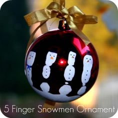 Personal Snowmen Ornament. Put washable craft paint on your child's hand, then have them hold a Christmas bulb (steadily). Walah! You have 5 little fingerprints to decorate as snowmen & a personal decoration :)