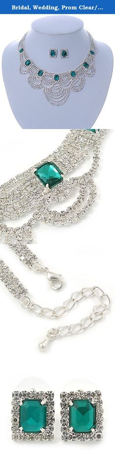 Bridal, Wedding, Prom Clear/ Emerald Green Austrian Crystal Layered Necklace and Stud Earrings Set In Silver Tone - 36cm L/ 6cm Ext. Simply breathtaking, this dramatic necklace and earring set is certainly a showstopper. Featuring a layered bib design, crafted in rhodium plated metal and garnished with clear and green Austrian crystals, offering a head-turning sparkle. The necklace has 36cm L/ 6cm Ext, and secures with a lobster-claw clasp to ensure a custom fit. The coordinating stud...