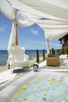 Danai Beach Resort (A luxurious hideaway perched on the bluffs of the Aegean Peninsula in Sithonia, the second prong of Halkidiki, in Northern Greece) - Jacuzzi lounge Outdoor Spaces, Outdoor Living, Outdoor Decor, Beach Resorts, Hotels And Resorts, Jacuzzi, Cabana, Porches, Dream Vacations