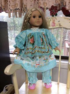 """Tweet Tweet, vintage linen handkerchief, ARTSY, 16-18"""" doll clothes, Waldorf, American Girl by judysdollboutique on Etsy"""