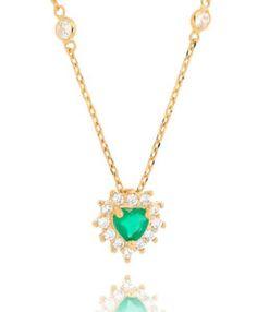 colar tiffany coracao verde esmeralda dourado