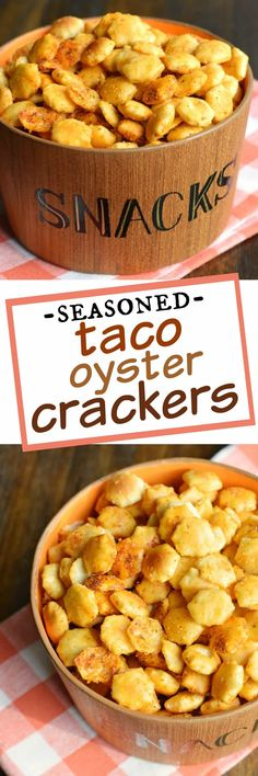 3 ingredients and no oven needed (made in a paper bag). This Taco Seasoned Oyste… 3 ingredients and no oven needed (made in a paper bag). This Taco Seasoned Oyster Crackers recipe is a great alternative to chips and pretzels! Snack Mix Recipes, Snacks Für Party, Yummy Snacks, Healthy Snacks, Cooking Recipes, Yummy Food, Snack Mixes, Desserts, Gourmet