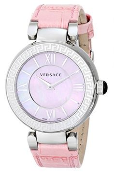 Women's Wrist Watches - Versace Womens VNC020014 Leda Stainless Steel Watch with Pink Leather Band ** You can get more details by clicking on the image. (This is an Amazon affiliate link)
