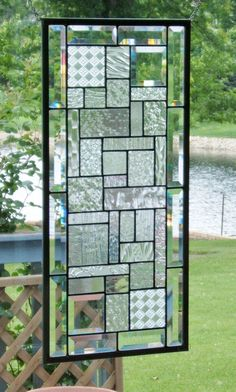 Beveled clear glass transom stained glass window panel