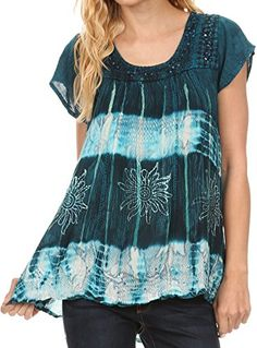 Sakkas S485100  Layleka Long Tie Dye Ombre Batik Embroidered Sequin Beaded Shirt Blouse Top  Turquoise  OSP -- You can find out more details at the link of the image.