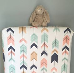 Arrows fitted crib sheet - blush pink mint navy oatmeal - tribal Aztec southwest nursery - toddler sheet - girl baby shower gift