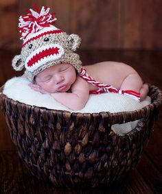 Love this Bits N Baubles BeBe Oatmeal & Red Sock Monkey Earflap Beanie by Bits N Baubles BeBe on #zulily! #zulilyfinds