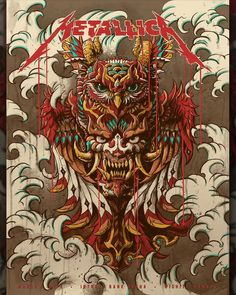 """bioworkz gig poster for tonights show at Wichita, Kansas at The INTRUST Bank Arena! I've titled this piece """"Demon Owl God"""". I had a lot of fun working on this piece! Metallica Tattoo, Metallica Art, Woodstock, Hard Rock, Rock Band Posters, Rock Bands, Monkey Art, Band Wallpapers, Heavy Metal Music"""